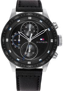 Tommy Hilfiger Herren Multi Zifferblatt Schwarz/Schwarz Leder Armbanduhr   1791810
