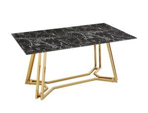 SalesFever Esstisch | 160 x 90 cm | Tischplatte Glas Marmor-Optik | Gestell Metall | B 160 x T 90 x H 76 cm | schwarz-goldfarben
