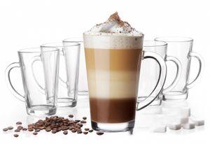 Latte Macchiato Gläser mit Griff aus Glas Set (6-Teilig) 270ml (max. 350ml) Kaffeegläser