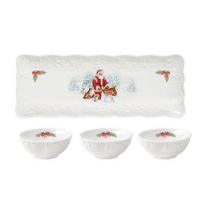 DIPSCHALE 3 Stück Weihnachten Snackschale Dipschälchen Weihnachtsmann Weiß Neu