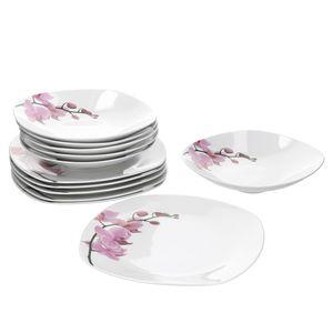 Tafelservice 12-tlg. Kyoto Orchidee leicht eckig Porzellan für 6 Personen weiß mit Nachbildung