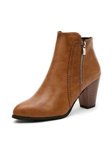 Damen Mode Schnee Kurze Stiefel Dicker Absatz Reißverschluss Freizeitschuhe,Farbe: Braun,Größe:38