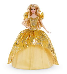 Barbie Signature 2020 Holiday Barbie-Puppe (30 cm, blondes langes Haar) im goldenen Kleid
