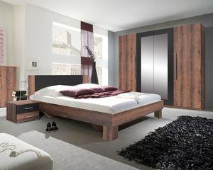 Schlafzimmer komplett 4-teilig Vett 160x200cm monastery eiche / schwarz Modern Schrank
