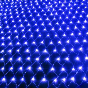3X2M LED Lichternetz Lichtervorhang Innen Außen Party Garten Lichterkette Weihnachtsbeleuchtung, Blau