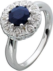 Safir Ring blau Silber 925  Diamanten Saphir Lady Di Style 18