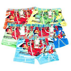GKA 2 Stück Kinder Jungen Boxershorts Cars 3-4 Jahre Gr. 98-110 Gummibund mit Aufschrift Cool Boy sehr weich und bequem Unterhose Boxershort Slips