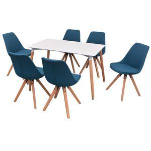 yocmall 7-teilige Essgruppe Tisch Stühle Weiß und Blau