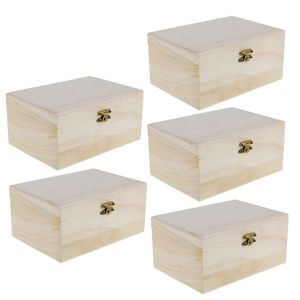 Packung Mit 5 Unfertigen Holzschatzkisten Für Kinder DIY Holzhandwerk