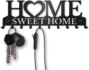 Sweet Home Wand-Organizer Schlüsselbrett (10-Haken) Dekorativer Schlüssel-Board Hakenleiste Schlüsselleiste Vintage Decor Haus-tür Küche Fahrzeug-schlüssel Aufhänger, Schwarz