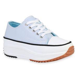 Giralin Damen Plateau Sneaker Keilabsatz Schnürer Profil-Sohle Schuhe 836214, Farbe: Hellblau, Größe: 39