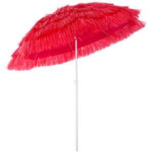 Kingsleeve Sonnenschirm Hawaii Ø160cm Strand Sonnenschirm Gartenschirm Balkonschirm, Farbe:rot - red - rouge