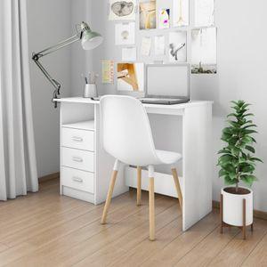 SIRUITON Schreibtisch mit Schubladen Weiß 110¡Á50¡Á76 cm Spanplatte