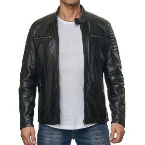 Reslad Lederjacke Herren Echtleder Biker Style Jacken für Männer   bequeme Übergangsjacke aus Nappa Leder RS-9031 Schwarz L