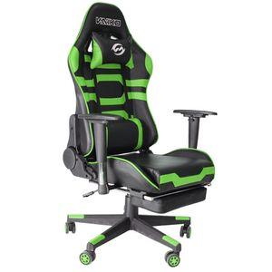 Bürostuhl Gaming Schreibtischstuhl Drehstuhl Race Chair Sportsitz + Beinauflage, schwarz/grün