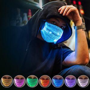 7 Farblichter LED leuchten Gesichtsmaske USB wiederaufladbare leuchtende leuchtende Staubmaske fuer Halloween Weihnachtsfeier Festival Dancing Rave Maskerade Kostueme