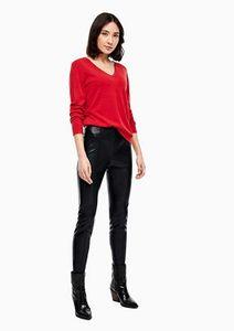 s.Oliver Kunstleder-Hose extravagante Damen Glanz-Hose mit elastischem Bund Schwarz, Größe:40