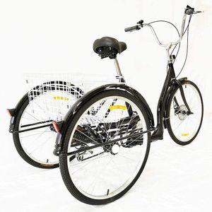 """26"""" Erwachsene Fahrrad Dreirad 3 Rad 6 Geschwindigkeit Fahrrad Trike Cruise Schwarz mit Einkaufskorb+ Licht"""