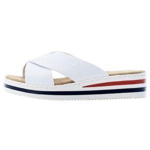 Rieker Damen Clogs Pantoletten Keilabsatz V02A1-80, Größe:40 EU, Farbe:Weiß