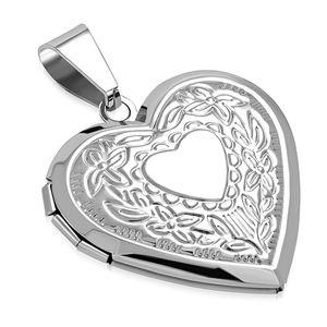 Edelstahl Anhänger Herz Heart Liebe Blumen Medaillon Vintage Halskette Lederkette Kugelkette Damen Herren Autiga® silber-nur-anhänger
