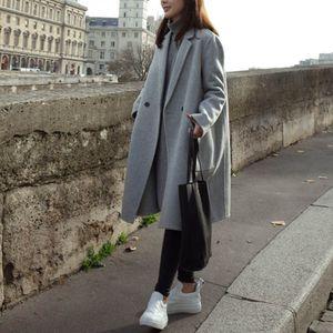 Damen Woll-Mantel Light Coat Trenchcoat Frauen Mantel Outwear Größe: 3XL, Farbe: Grau