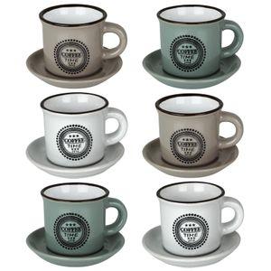 Espressotassen Set Bistro 12tlg. Keramik Espresso Tassenset 89ml Mokka Cups Tassen Untertassen Espressoserviceset Kaffeetassen