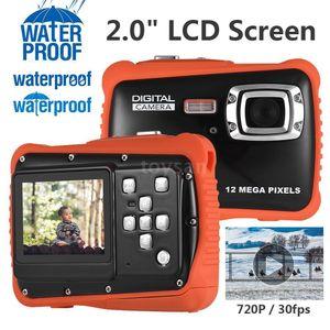 """Kompakte Groesse 720P HD Digitalkamera Camcorder 5MP CMOS-Sensor 2,0 """"LCD-Bildschirm 3 Meter wasserdicht mit eingebautem Mikrofon fuer Kinder(Schwarz)"""