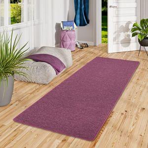 Feinschlingen Läufer Velour Teppich Strong Lila, Größe:100x300 cm