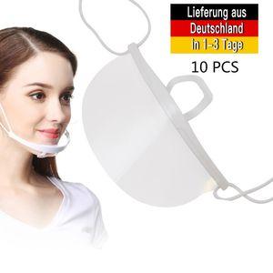 10 Stück Gesichtsschutz Gesichtsabdeckungen, Mund Visiere Anti-Speichel Anti-Splash Gesichtsschild für Mund Schutz Transparent