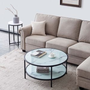Zweischichtiger runder Couchtisch aus Glas, leicht zu montierendes marmorfarbenes gehärtetes Glas 85 × 85 × 45 cm