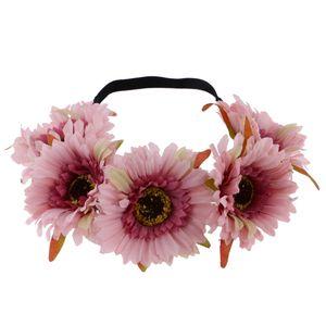 Boho Art Gänseblümchen Blumenblumen Stirngirlande Haar Band Strand Partei Rosa Boho-Blume 44 cm