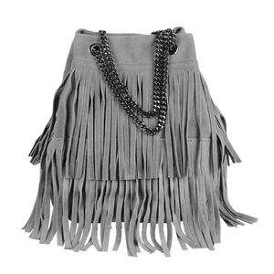 Italy Damen Leder Tasche Fransen Shopper Kettentasche Beutel Wildleder Handtasche Umhängetasche Bucket Bag Schultertasche Ledertasche Dunkelgrau
