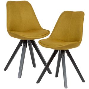 WOHNLING 2er Set Esszimmerstuhl Curry mit schwarzen Beinen Stuhl Skandinavisch   Polsterstuhl mit Stoff-Bezug   Design Küchenstuhl gepolstert