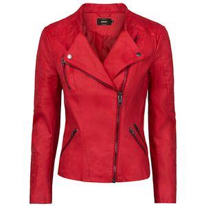 ONLY Damen Kunstlederjacke onlAVA, Farbe:rot, Größe:40