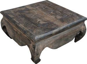 Opiumtische, Kaffeetisch, Beistelltisch, Couchtisch, Beschnitzt, Braun, Holz, Größe: 60*60 cm