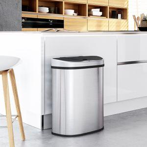 SONGMICS Mülleimer mit Sensor 2 Fächern 70L 2 x 35L automatischer Abfalleimer Mülltrennsystem Abfallbehälter für die Küche berührungslos silbern LTB93NL