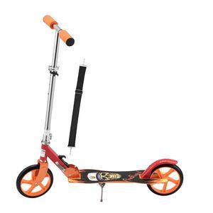 ArtSport Scooter Cityroller Fire Big Wheel 205 mm Räder klappbar & höhenverstellbar – Kinder-Roller ab 3 Jahre - Tretroller bis 100 kg – schwarz / rot
