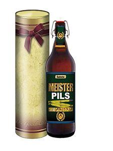 Meister Pils 1 Liter - Bügelflasche mit edlem Pils (mit Geschenkdose im Schleifendesign)