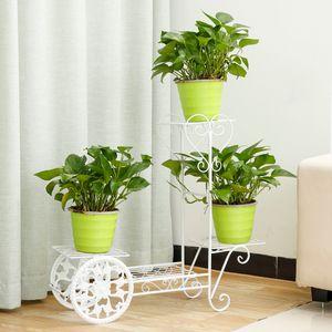 Sunnyme Blumentreppe 4 Ebenen, Blumentreppe Metall Retro Blumenständer für innen und außen Weiß