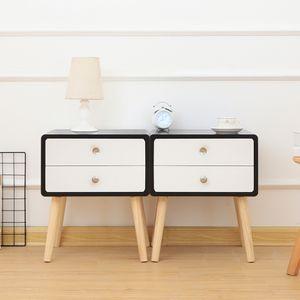 2x Nachttisch Beistellschrank Massivholz Nachtschrank Skandinavische Nachtkommode Telefontisch mit 2 Schublade weiß+Schwarz