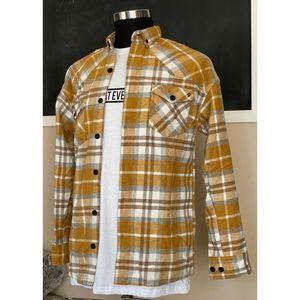 Megaman Jeans Holzfällerhemd Flanellhemd Herren Hemd Kariert Hemdjacke Mode Fashion Holzfäller Baumwolle H-3004 Senfgelb M