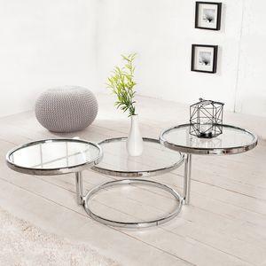cagü: Art Deco Design 3 Ebenen Beistelltisch [SATURNUS] Chrom & Glas Drehbar 55cm-155cm