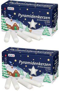 2 Packungen WEISS je  50 Pyramiden Kerzen Fa. EWA / JEKA