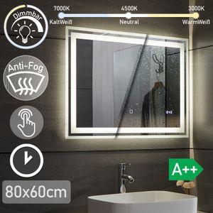 Aquamarin® LED Badspiegel - 80x60 cm, Beschlagfrei, Dimmbar, 3 Lichtfarben 3000-7000K, Kaltweiß Neutral Warmweiß, energiesparend, Digitaluhr mit Datum - Badezimmerspiegel, Lichtspiegel, LED Spiegel