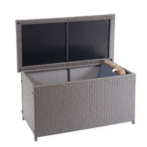 Poly-Rattan Kissenbox HWC-D88, Gartentruhe Auflagenbox Truhe  Basic grau, 51x100x50cm 170l
