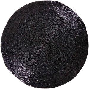 Glasperlen Tischset / Platzset ( 1 Stück ) Ø36cm - Schwarz
