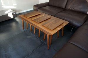 Design Couchtisch Tisch inkl. 3x Beistelltisch SH-2 Nussbaum / Walnuss Echtholzfurnier
