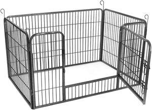 FEANDREA Welpenauslauf aus Metall 122 x 80 x 70 cm Welpengitter Welpenzaun Freilaufgehege Tierlaufstall für Hunde grau PPK04GY