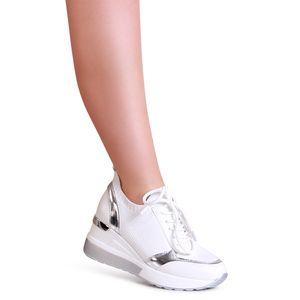topschuhe24 2004 Damen Keilabsatz Sneaker Halbschuhe, Farbe:Weiß, Größe:41 EU