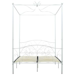 vidaXL Himmelbett-Gestell Weiß Metall 120 x 200 cm